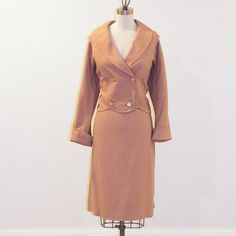 1950s Suit Fawn Tan Wool Twill Plunging Blazer by daisyandstella, $72.00