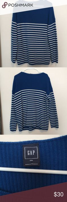Thick striped Gap sweater New without tags. Blue and white striped sweater from Gap. Thick material, perfect condition, never worn. GAP Sweaters