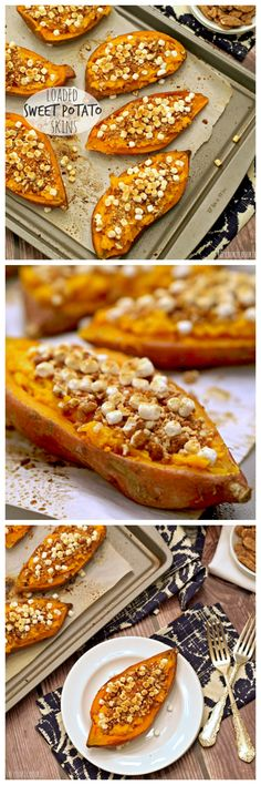 Loaded Sweet Potato Skins! These are the best side dish for Thanksgiving! Delicious, healthy, and fun. YUM! | http://www.thecookierookie.com/loaded-sweet-potato-skins/ |
