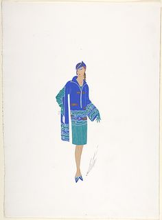 Design for Blue and Green Dress with Fish Pattern at Neckline, Hat and Earrings  (1927)