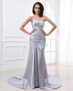 Normale Taille Herz-Ausschnitt Perlenbesetztes Satin Abendkleid/ Partykleid aus Seide wie Satin