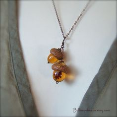 Glass Acorn Necklace  Doubles in Topaz with by bullseyebeads, $34.00