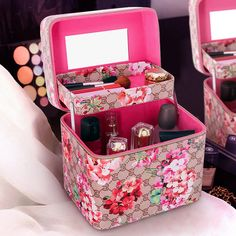 2017 Trunk Large Capacity Double Layer Makeup Bags Pu Leather Storage Organizer Beauty Cases Hand-held Portable Cosmetic Bags