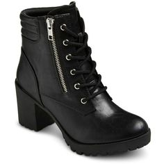 Women's Mossimo Supply Co Easton Chunky Heel Combat Boots ($75) ❤ liked on Polyvore featuring shoes, boots, ankle booties, heels, army boots, combat boots, lace up heel booties, block heel booties and lace up heel boots