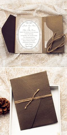 vintage rustic wedding invitations with pocket and burlap