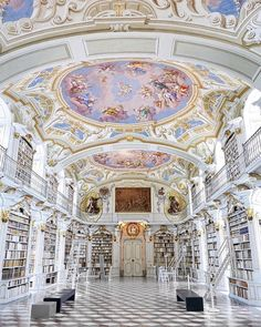 Austria's magnificent Admont Abbey is the world's largest monastery library. In a group of Benedictine monks from Salzburg founded… Baroque Architecture, Beautiful Architecture, Beautiful Buildings, Architecture Design, Beautiful Places, Library Architecture, Beautiful Library, Dream Library, Aesthetic Rooms