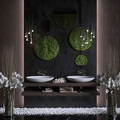 Restaurant Interior Design, Home Interior Design, Ceiling Design, Wall Design, Moss Wall, Toilet Design, Kitchen Decor Themes, Bathroom Design Luxury, Diy Décoration