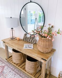 Best farmhouse interior decor ideas, interior design tips Hallway Decorating, Entryway Decor, Interior Decorating, Interior Design, Decorating Ideas, Entryway Tables, Summer Decorating, Wall Decor, Porch Decorating