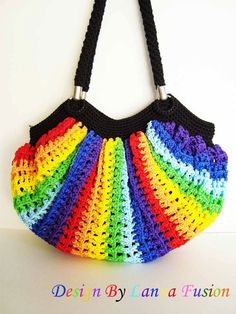 Rainbow vertical stripe Crochet Handle bags Rainbow Handbag Colorful Purse Rainbow Tote Colorful Luxury Handbags (N50)