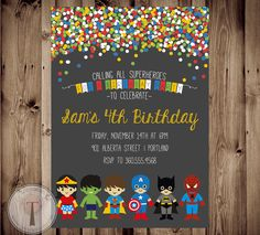 SUPERHERO And SUPER GIRL Birthday Invitation Invite Superhereos Supergirl Boy Girl Party