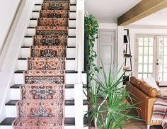 DIY Stair Runner Tutorial — house on a sugar hill How to Install a runner on wooden stairs. Staircase Runner, Wood Staircase, Staircase Design, Stair Runners, Spiral Staircases, Staircase Ideas, House Stairs, Carpet Stairs, Carpet Runner On Stairs