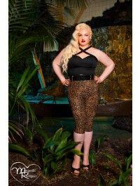 Pinup Girl Clothing Capri Pants in Leopard Bengaline - Plus Size