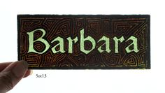 Stained Glass Window Fragment, Name, Barbara, hand painted new fragment : 5ot13. $20.00, via Etsy.