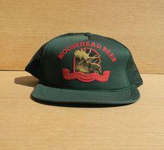 Vintage Mesh Snapback Trucker Hat - Moosehead Beer - Hunter Green Cap