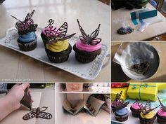 The cutest cupcakes! How to make chocolate butterflies to put on your cupcake. So sweet =) Food Cakes, Cupcake Cakes, Cupcake Toppers, Cup Cakes, Decoration Patisserie, Dessert Decoration, Cake Decorating Tips, Cookie Decorating, Bolo Diy