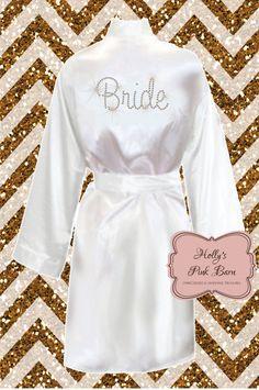 c172fda454e Items similar to SALE Back Only White Bridal Rhinestone Kimono Short Robe  Bridal Party Pool Party Slumber Party Gifts Satin Robe Bridal Robe  Bridesmaid Robe ...