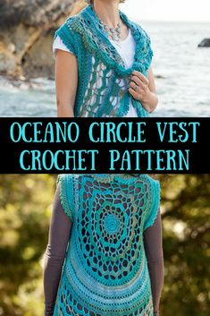 "Beautiful Details in this ""Oceano"" Circle Vest Crochet Pattern. Crochet Vest Pattern, Crochet Blanket Patterns, Knitting Patterns, Beginner Crochet Projects, Crochet Patterns For Beginners, Free Crochet, Knit Crochet, Crochet Sweaters, Homeade Gifts"