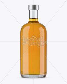 700ml Clear Glass Whiskey Bottle Mockup