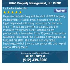 I have worked with Greg and the staff at GDAA Property Management for about a year now and...