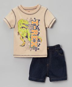 This Beige 'T-Rex' Tee & Denim Shorts - Infant & Toddler is perfect! #zulilyfinds