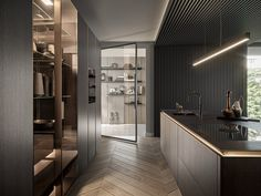 Cucina con isola senza maniglie SieMatic SLX By SieMatic Design System, Glass Design, Popular Kitchen Colors, New England Homes, Luz Led, House And Home Magazine, Design Awards, Interior Design Kitchen, Kitchens