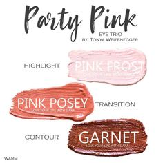 Party Pink Eye Trio uses three SeneGence ShadowSense : Pink Frost, Pink Posey and Garnet. These creme to powder eyeshadows will last ALL DAY on your eye. #shadowsense #trio  #eyeshadow