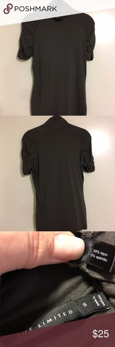 🎁BF-SALE 35%⬇️The Limited mock turtleneck blouse The Limited mock turtleneck short sleeve blouse in charcoal grey with gathered detailing on sleeves - great with jeans or slacks and a jacket! 🔴Price is FIRM❣️but you can bundle & save! This is the Lowest price for this item❣️❣️ ☑️I ship same or next day!! The Limited Tops Blouses