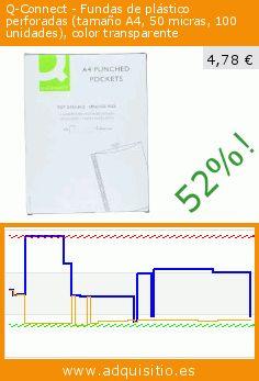 Q-Connect - Fundas de plástico perforadas (tamaño A4, 50 micras, 100 unidades), color transparente (Productos de oficina). Baja 52%! Precio actual 4,78 €, el precio anterior fue de 10,02 €. https://www.adquisitio.es/q-connect/fundas-pl%C3%A1stico