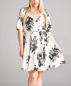 Love this Off White Floral Surplice Dress - Plus on #zulily! #zulilyfinds