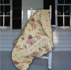 Quilted Throw For Sofa Floral Stripe Pattern Blanket Antique Rose Lap Chair GIFT #QuiltedThrow #Flowers