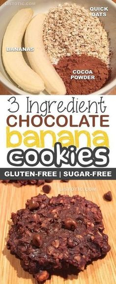 3 Ingredient Healthy Chocolate Banana Cookie Recipe | Sugar free, gluten free, vegan, healthy dessert and snack recipe. Listotic.com