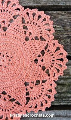 KristinesCrochets : Salmon Star Doily Free Crochet Pattern Crochet Placemat Patterns, Free Crochet Doily Patterns, Basic Crochet Stitches, Crochet Patterns For Beginners, Crochet Basics, Thread Crochet, Crochet Hooks, Crochet Octopus, Crochet Mandala