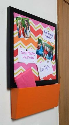 A corkboard & cubby work great for posting notes and holding small items. Click the link for the how-to!