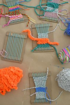 make cardboard looms and show little kids how to weave and you will be amazed by what they can make: