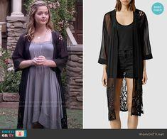 Ali's black kimono jacket on Pretty Little Liars.  Outfit Details: http://wornontv.net/51065/ #PLL