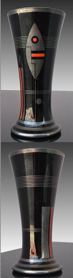 Hem vase, French, signed, Art Deco cubist pattern. about 10 in. high. *Most likely decorated on a Czech. blank.