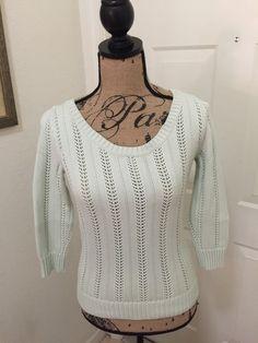 9e6d0b5e034 Ann Taylor Light Green Mint Open Stitch Knit Summer Sweater Top Shirt XS