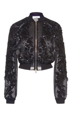 This **Zuhair Murad** Embroidered Organza Bomber Jacket features ribbed band collar with beaded bodice detailing and ribbed cuff long sleeves. Embroidered Bomber Jacket, Beaded Jacket, Cute Skirt Outfits, Cute Skirts, Fashion Mode, Fashion Outfits, Womens Fashion, Organza, Cute Jackets