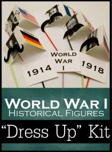 """Classical Conversations Cycle 2 Week 14 Teaching World War I history with a printable """"Dress-Up"""" kit of glasses and mustaches! So Cute!!"""