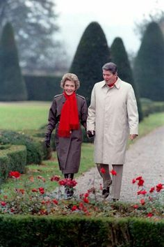 President & Mrs. Reagan...taking time to smell the roses...sw