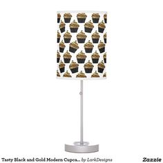 Tasty Black and Gold Modern Cupcakes Pattern Desk Lamp
