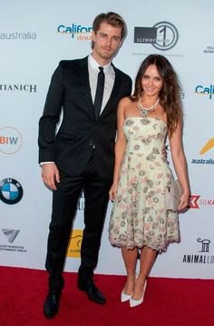 Luke Mitchell and Rebecca Breeds at the Australians in Film's Heath Ledger Scholarship Dinner in July 2014 in Los Angeles...