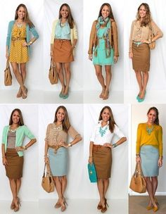 Cute spring work outfit | mustard yellow cardigan, light blue pencil skirt, tan cognac pencil skirt, aqua dress, white blouse, tan blouse outfit by reva