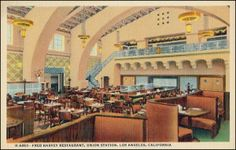 This vintage postcard depicts one of the many Historic Harvey House Restaurants. Find Postcards like this one, along with authentic Harvey House Restaurant China at P. Courtyard Apartments, Harvey House, Harvey Girls, House Restaurant, Restaurant History, Union Station, Train Station, Beer Company, Spanish Revival