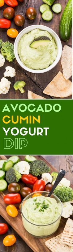 Looking for an alternative to your traditional veggie dill dip? This simple Avocado Cumin Yogurt Dip is loaded with the savory Mexican flavors of cumin, cilantro and lime as well as heart-healthy yogurt and avocado - perfect for your next potluck! Make Ahead Appetizers, Quick And Easy Appetizers, Cold Appetizers, Easy Appetizer Recipes, Avocado Dip, Avocado Recipes, Lemon Recipes, Dip Recipes, Party Recipes