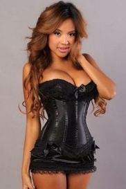 Black Burlesque Corset (by Velvet Kitten) according to their size chart need size L