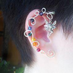 Fairy Bubbles Rainbow Crystal Vine Ear Wrap Cuff