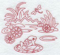 Spring Frog (Redwork) design (F8698) from www.Emblibrary.com