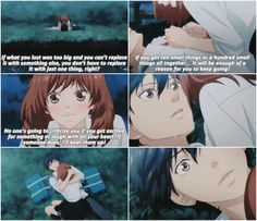 Ao Haru Ride  || To let my heart be moved, to laugh from the bottom of my heart, to find meaning in everyday life… I wanted to be given permission. Maybe all this time I've been waiting for something like this. Something like a storm. ||  That's it Kou, let it out!! I don't  want to see you cry but you need to let it out! ); Dark Anime Guys, Anime Love, Aho Girl, Miraculous, Tsurezure Children, Howl And Sophie, Ao Haru, Like A Storm, Blue Springs Ride