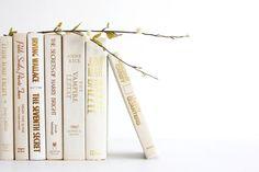 Soft White Gold Collection - Winter White Books - Ivory Books - Decorative Book Decor - Shabby Chic Wedding Decor